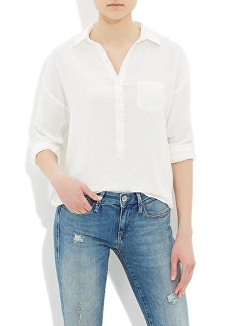 Mavi Cepli Beyaz Bluz