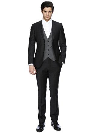GEORGE HOGG Yelekli Siyah Takım Elbise