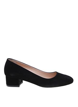 Fabrika Nubuk Kalın Siyah Topuklu Ayakkabı