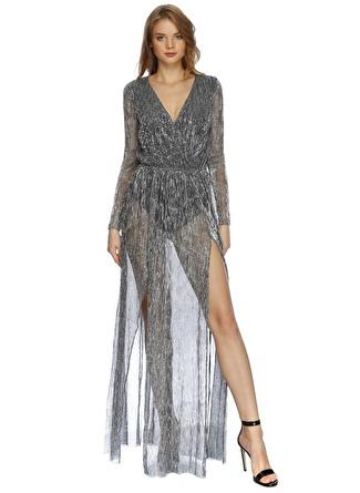 LYDC V Yakalı Yırtmaçlı Elbise