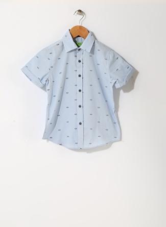 Limon Company Erkek Çocuk Balık Desenli Mavi Gömlek