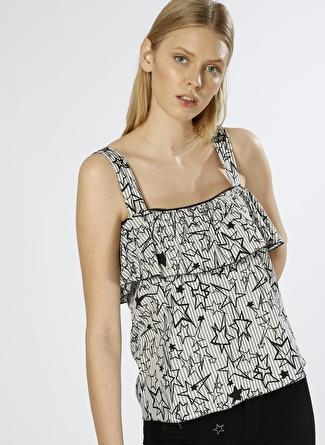 BLACK PEPPER Yıldız Desenli Siyah Bluz