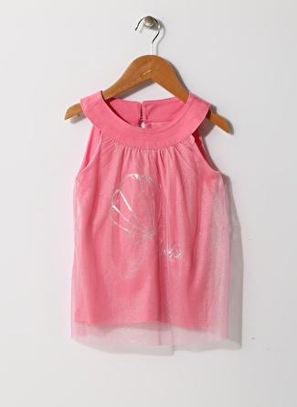 Barbie Kız Çocuk Tüllü Pembe T-Shirt