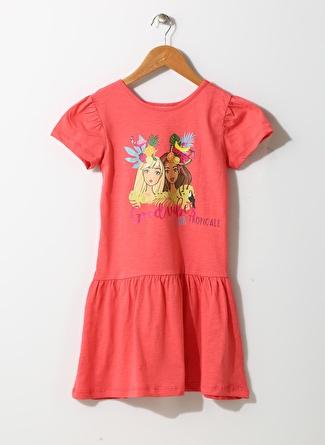 Barbie Kız Çocuk Karakter Baskılı Mercan Elbise