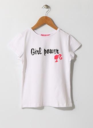 Barbie Kız Çocuk Yazılı Bisiklet Yaka Beyaz T-Shirt