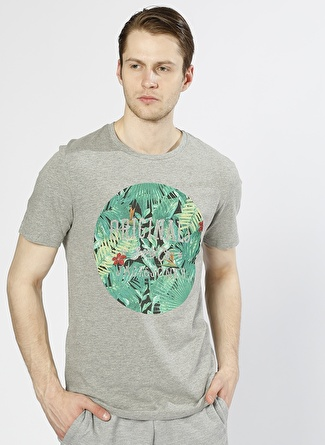 Jack & Jones Baskılı Gri T-Shirt