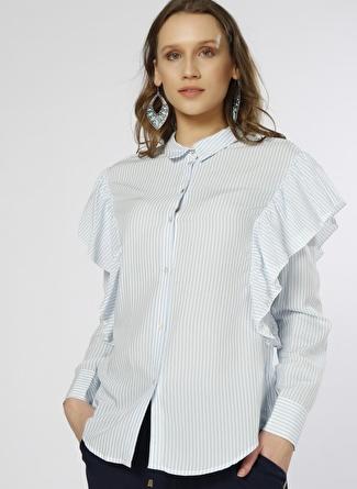 Only Fırfır Detaylı Mavi-Beyaz Gömlek