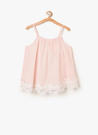 Koton Kız Çocuk Çizgili Pembe - Beyaz Bluz