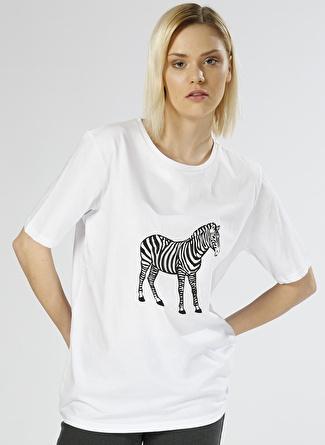 Olê Zebra Baskılı Beyaz T-Shirt