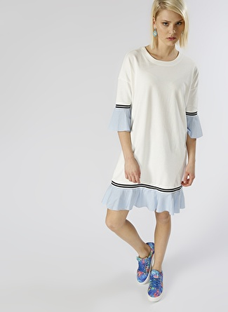 Olê Volanlı Beyaz Elbise