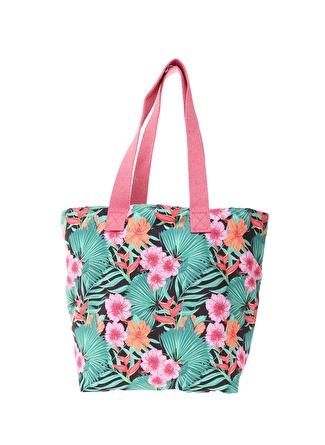 T-box Kadın Çiçek Desenli Renkli Plaj Çantası