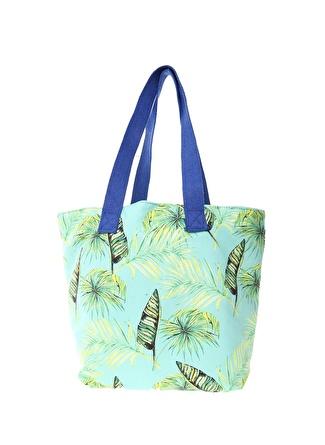 T-box Kadın Yaprak Desenli Yeşil Plaj Çantası