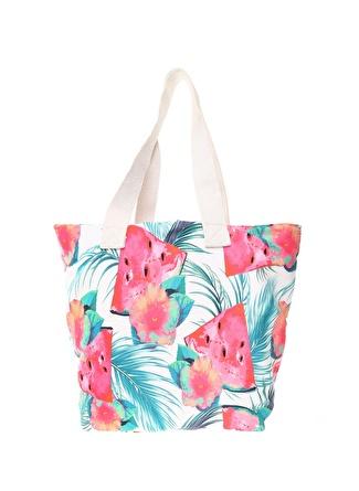 T-box Kadın Karpuz Desenli Renkli Plaj Çantası