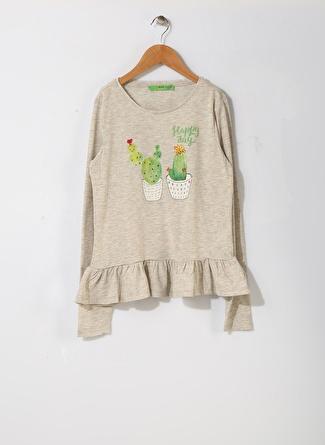 Limon Company Kız Çocuk Kaktüs Baskılı Gri T-Shirt
