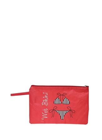 T-box Kadın Desenli Kırmızı Plaj Çantası