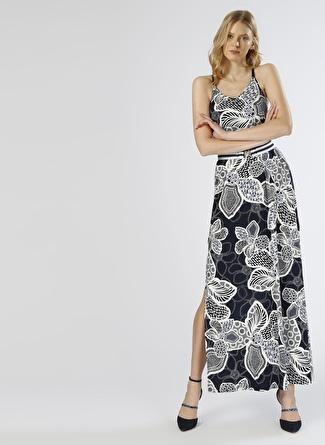 Network Yırtmaçlı Lacivert-Beyaz Elbise