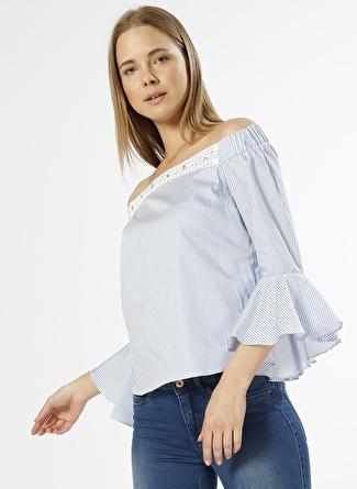 Network Taş İşlemeli Mavi - Beyaz Bluz