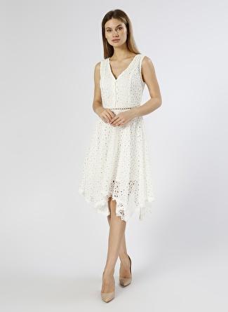 Network Güpürlü Beyaz Elbise