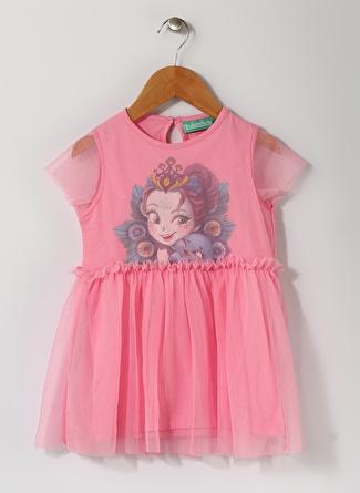 Enchantimals Kız Çocuk Baskılı Pembe Tül Elbise