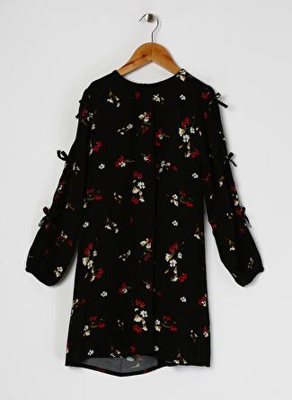 Koton Kız Çocuk Çiçek Desenli Siyah Elbise