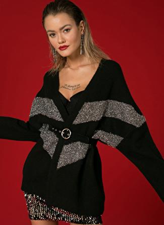 BLACK PEPPER Kadın Simli Siyah-Metalik Hırka