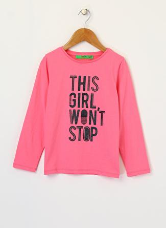 Limon Company Kız Çocuk Yazılı Pembe T-Shirt