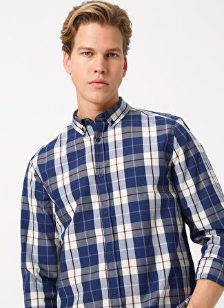 Limon Company Erkek Ekoseli Ekru-Mavi Gömlek