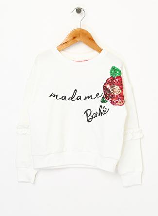 Barbie Kız Çocuk Pullu Beyaz Sweatshirt