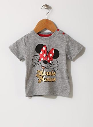 Mammaramma Kız Çocuk Mickey Mouse Baskılı Gri T-Shirt