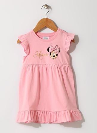 Mammaramma Kız Bebek Minnie Mose Baskılı Pembe Elbise