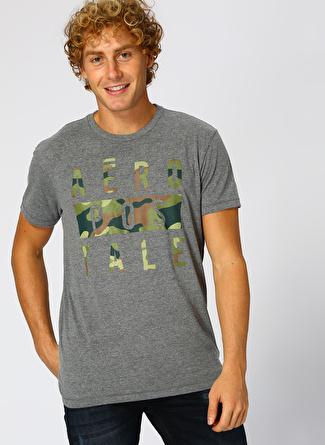 Aeropostale Kamuflaj Baskılı Gri T-Shirt