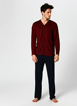 Dagi V Yaka Bordo-Lacivert Pijama Takımı