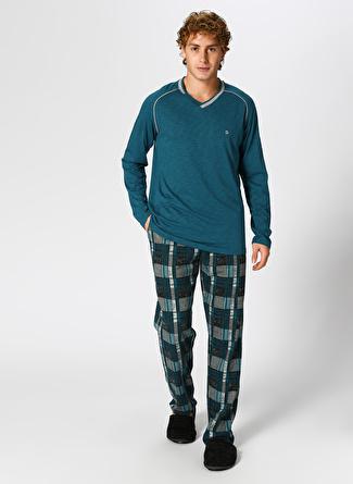 Dagi Flamlı Yeşil V Yaka Pijama Takımı