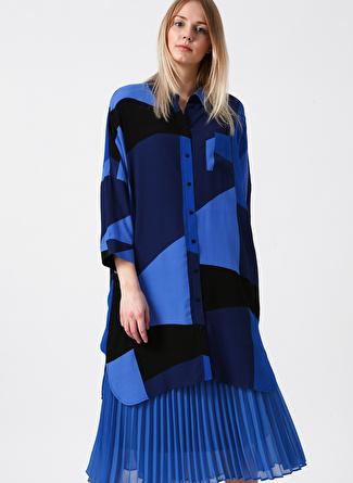 Vero Moda Bloklu Uzun Mavi Gömlek