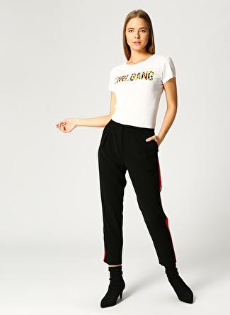Koton Şerit Detaylı Siyah Havuç Pantolon