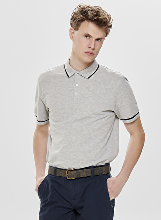 Only & Sons Polo Yaka Açık Gri T-Shirt