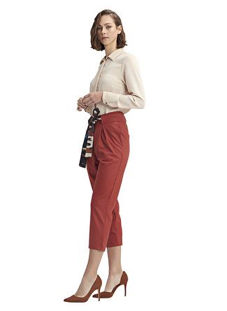 Mizalle Renkli Kuşaklı Kiremit Pantolon
