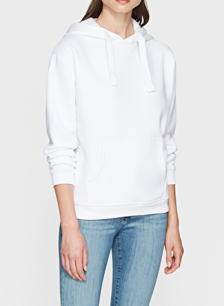 Mavi Kapüşonlu Beyaz Sweatshirt