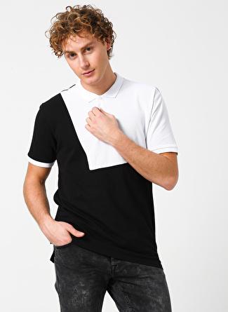 Only & Sons Polo Yaka Renk Bloklu Siyah-Beyaz T-Shirt