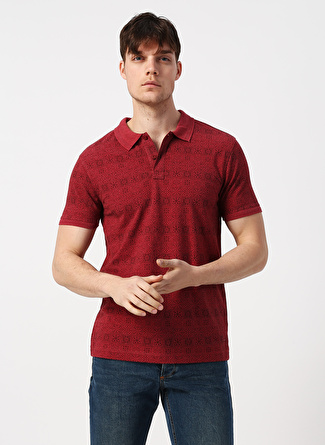 Loft Desenli Polo Yaka Bordo T-Shirt