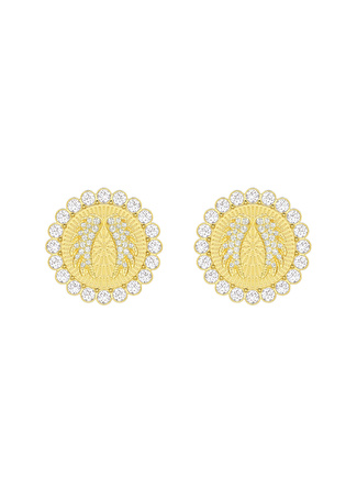 Swarovski 5464120 Lucky Goddess Clip Beyaz Altın Kaplama Küpe