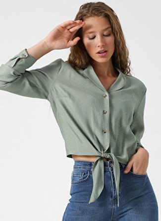 Quzu Belden Bağlamalı Koyu Mint Gömlek