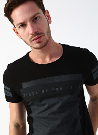 Twister Jeans Baskılı Yazılı Siyah T-Shirt