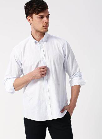 M Beyaz - Mavi Altınyıldız Classic Regular Fit Desenli Gömlek 5002396124005 Erkek Giyim