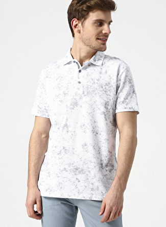 L Beyaz - Gri Altınyıldız Classic Polo Yaka Desenli T-Shirt 5002396211001 Erkek Giyim T-shirt & Atlet