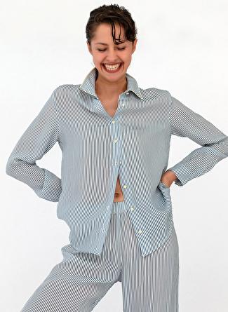 XS Lacivert Melanj Hays Pijama Üst 5002396219005 Kadın İç Giyim