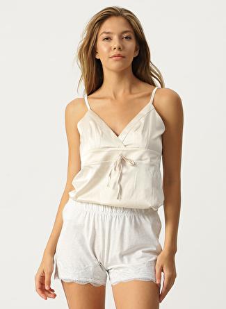 L Gri Melanj Hays Dantel Detaylı Pijama Şort 5002396305002 Kadın İç Giyim