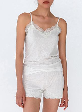 XS Gri Melanj Hays Pijama Üst 5002396355006 Kadın İç Giyim