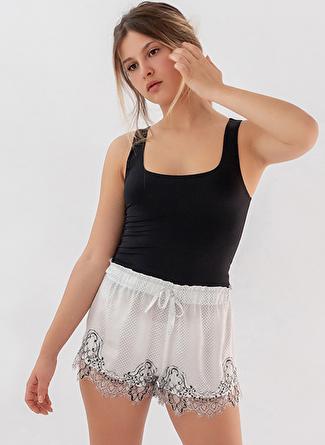 L Siyah Melanj Hays Pijama Şort 5002396389001 Kadın İç Giyim