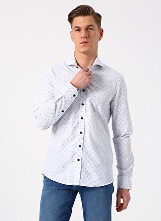 S Beyaz - Mavi Beymen Business Gömlek 5002396404003 Erkek Giyim